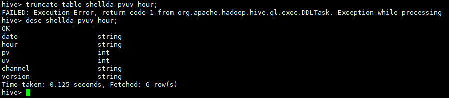 hive return code 1 from org.apache.hadoop.hive.ql.